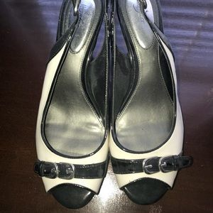 Shoes - Black and white heels